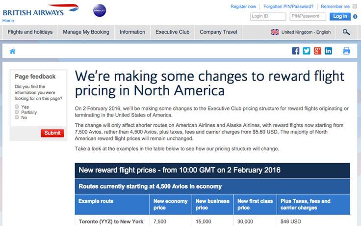 British Airways Devaluation: Bye Bye 4500 Avios Awards in U.S. #TravelSort