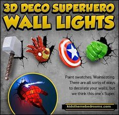 Decorating theme bedrooms - Maries Manor: Superheroes bedroom ideas - batman - spiderman - superman decor - Captain America - comic book bedding - batmobile bed - Wonder Woman - marvel wall art Avengers - superman bedding - primary color bedroom ideas - spiderman room decor - decorating with comics