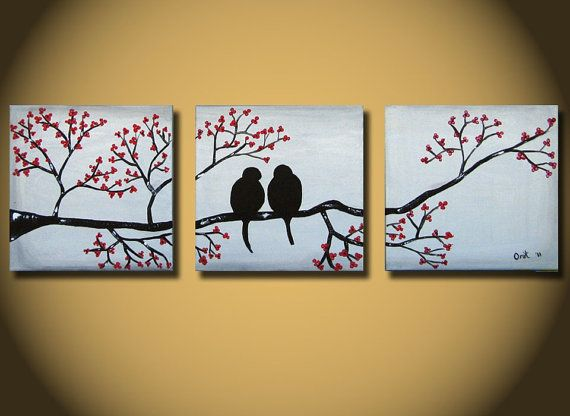 HUGE Love Birds Painting, Large Abstract original art, tree with red flowers, 60 20 inches bedroom wall decor, ready to hang handmade