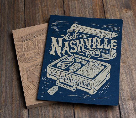 Visit Nashville Today  Block Print by strawcastle on Etsy, $11.99