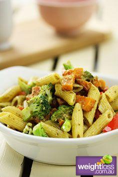 Healthy Pasta Recipes: Pesto penne with sweet potato and broccoli Recipe . #HealthyRecipes #DietRecipes #WeightlossRecipes weightloss.com.au