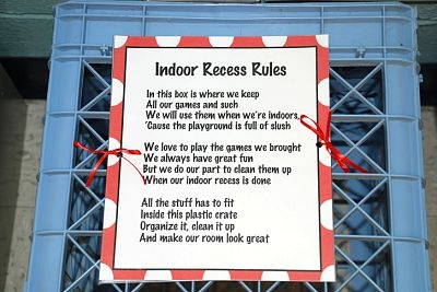 Indoor Recess Rules-Clever Poem explains use of indoor recess activities (Mrs. Morgan's Class)