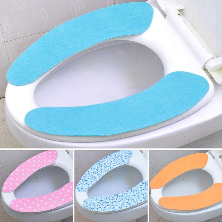 Amazing Bathroom Décor Designer Toilet Seats : 2pairs Lot Sticky Toilet Mat Beautifully Cute Design