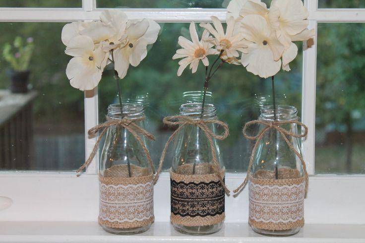 Charming Milk Jar Vases/ Burlap Milk Jars