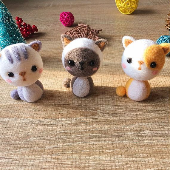 Needle felted felting kit project Animals  cat cute for beginners starters