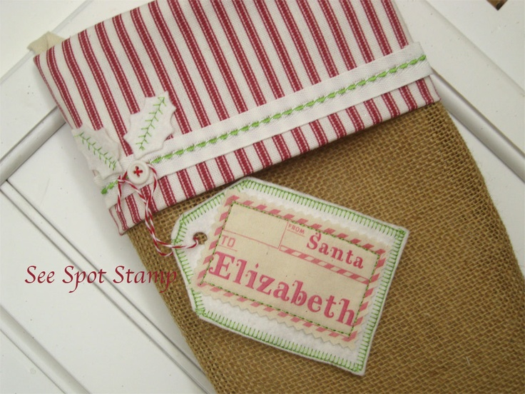 Name tags... a cute way to put names on a stocking. Burlap Christmas Stocking via Etsy.