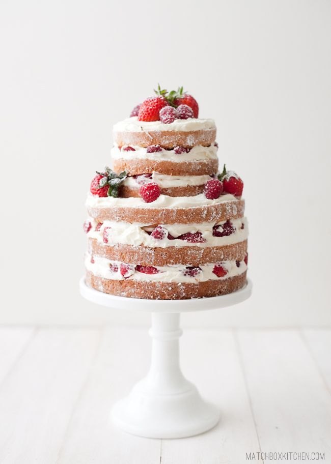 naked wedding cake,simple wedding cake,naked strawberry raspberry shortcake