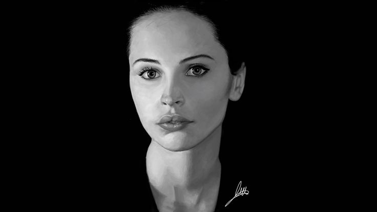 Retrato digital de Felicity Jones.