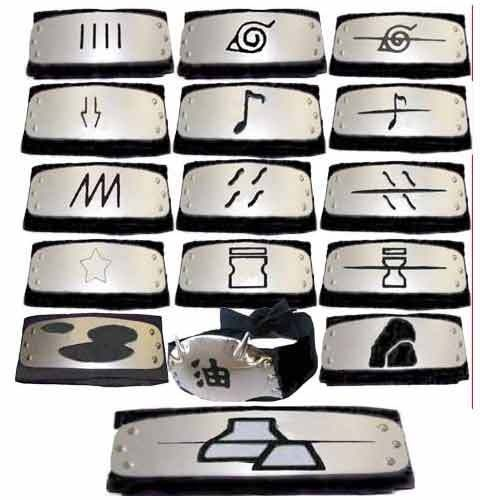 Azure Costume - Naruto headbands konoha headband 16 PCS all village headbands in black, $35.00 (http://www.azcostume.com/0212)