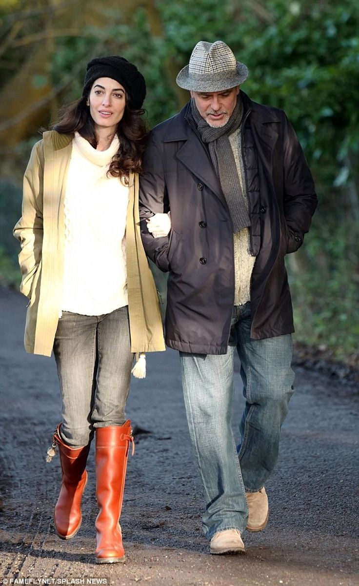 Amal and George Clooney enjoyed a winter walk in the Berkshire. I don't know if she is pregnant and if she would be pregnant she must be on the early stage. I love the country casual l…
