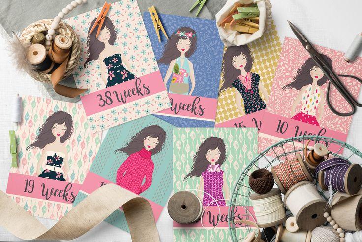 IMPRIMIBLE 40 tarjetas hitos  embarazo, estilo boho - Regalo para Baby Shower - regalo de embarazo - tarjetas embarazada by CuteLittleWorkshop on Etsy