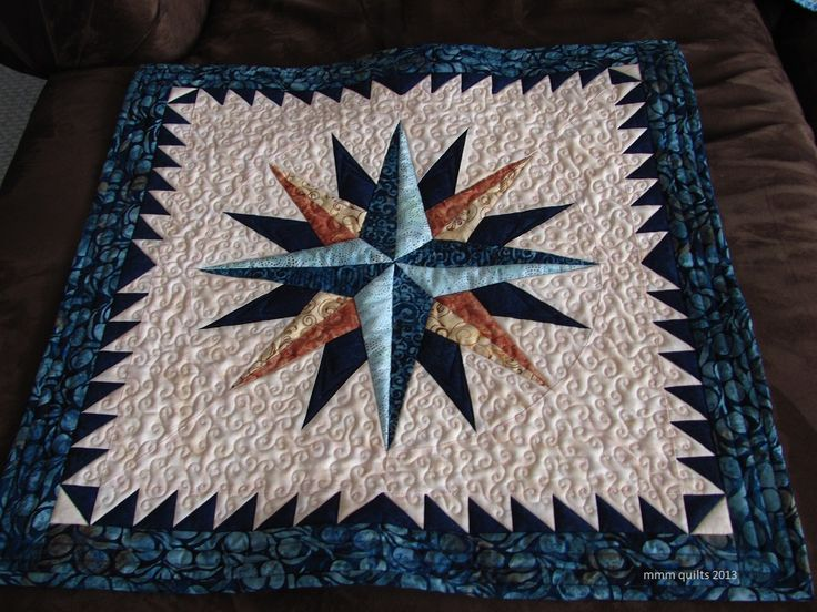 This pattern is the Split Ray Compass by Bearpaw Productions .  It's a nice wall hanging, at about 27x27, and the pattern is free .  Thanks ...