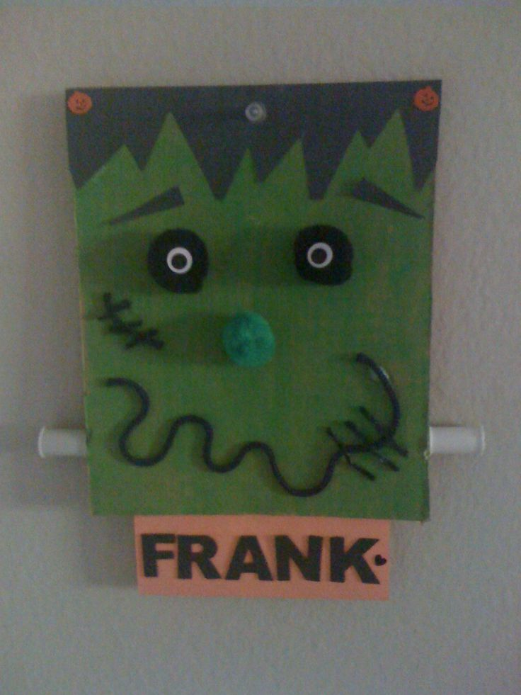 Frankenstein Halloween craft made from the flap of an Amazon.com box. Just need …