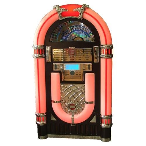 """Toda la magia de los 50 y 60 están reflejados en esta espectacular y ensoñadora """"Máquina de Discos"""" con diseño retro que emula a las míticas SINFONOLAS y ROCKOLAS de aquellos años dorados y en la que podrás escuchar tus vinilos, la radio, tu MP3, CDS, CDS-MP3 y grabar todo lo que quieras.    El mueble es de madera barnizada y los adornos son cromados.  Todo el arco exterior va cambiando su color continuamente, azul, verde, morado, naranja... así hasta siete colores, que puedes apagar o…"""