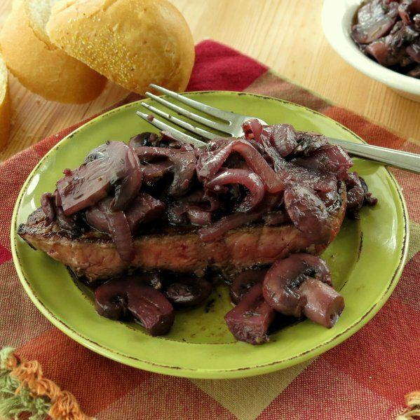 Easy burgundy mushroom sauce over steak. It's a 30 minute recipe with special occasion appeal.