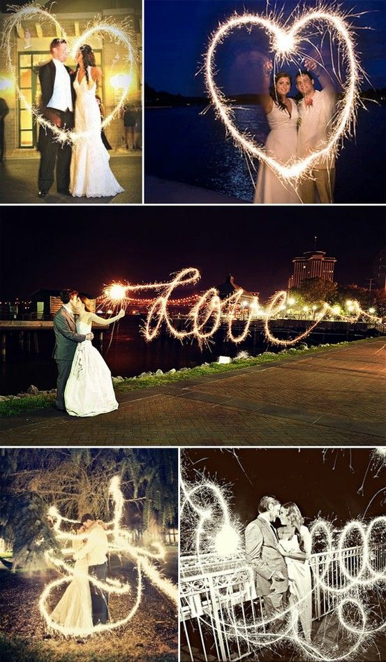 """long exposure for sparklers. set camera mode to M (manual). set f/stop to f5.6. set shutter speed to 4"""" (4 seconds) or slower (make the shutter speed faster for more defined words). set white balance to tungsten. the love script in the middle is pretty awesome as she would have had to write it backwards! bottom two are like the fairy waved her magic wand around the couple!"""