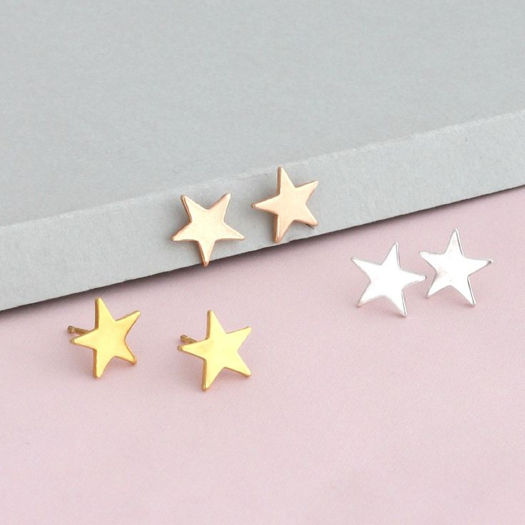 A beautiful pair of 925 sterling silver star stud earrings handmade in our Brighton workshop. You can now co-ordinate your special Bright Star Necklace with matching stud earrings for a fun look. These earrings would make a lovely gift for a loved one or a wonderful little treat for yourself! Also available in 18ct rose or yellow gold plated. Price £20.00