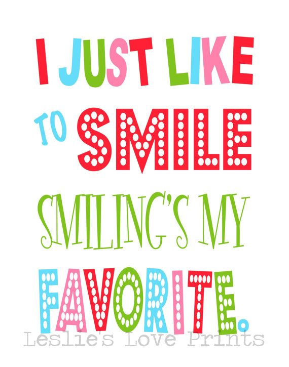 """Buddy The Elf Quote """"I Just Like to Smile, Smiling's My Favorite"""""""