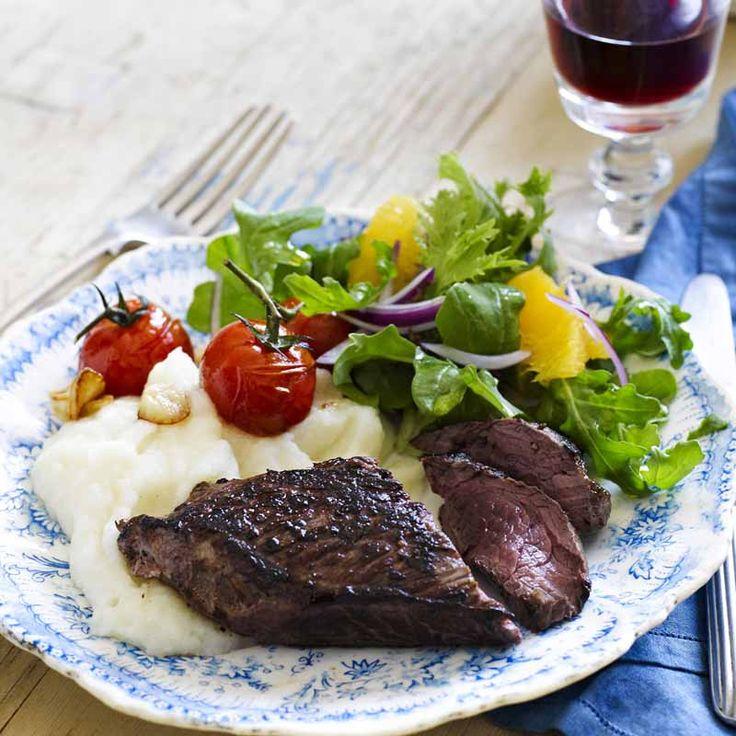 Kangaroo fillet with roast tomatoes and cauliflower mash Recipe | Weight Watchers AU