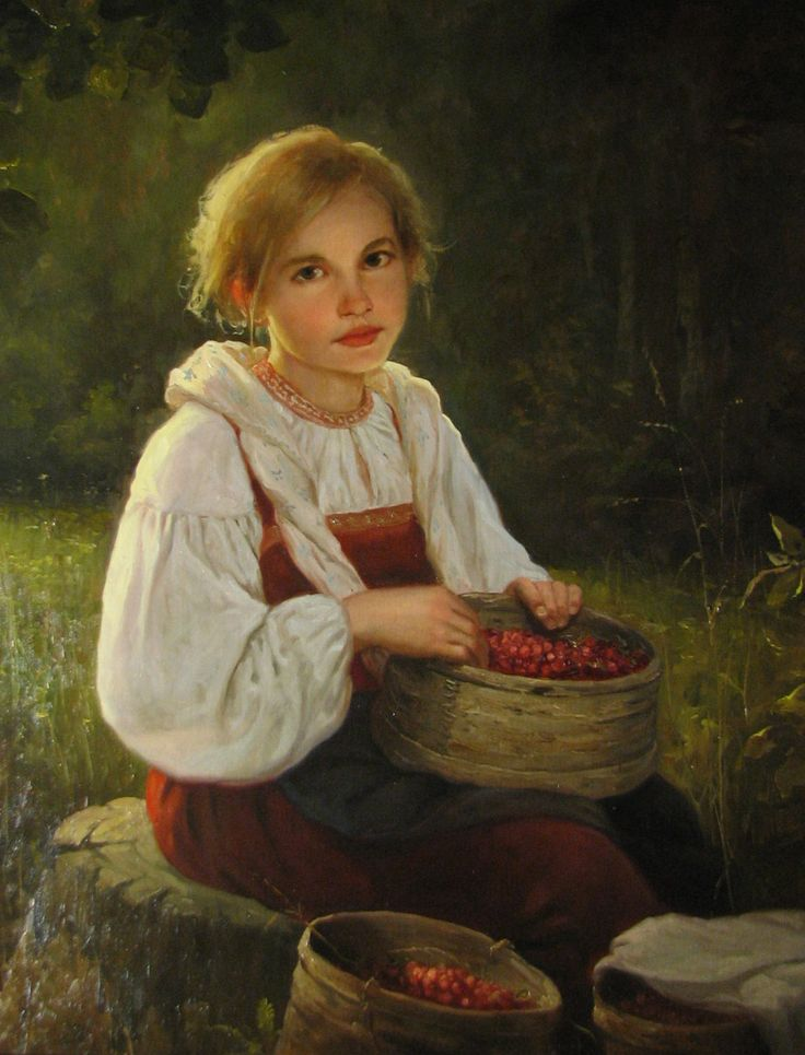 To pick berries... by Andrey Shishkin(well-known artist, who was born in Moscow in 1960. Here he lives and works now. This Russian artist works in the style of realistic academic painting and creates paintings that delight in its splendor).