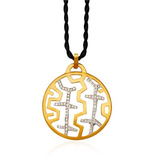 Entasis pendant in 18KT yellow gold with diamonds
