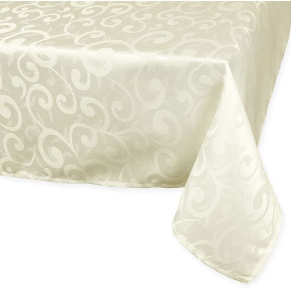 Superior Cream Poly Damask Tablecloth ($26) ❤ Liked On Polyvore Featuring Home,  Kitchen U0026