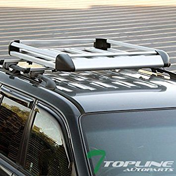 Topline Autopart 49″ Silver Square Roof Rail Rack Cross Bars Kit+Cargo Carrier Luggage Basket T1 Review 2017