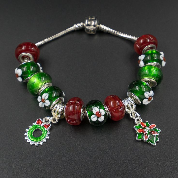 Christmas European style large hole glass bead and charms set matching Christmas handmade lampwork beads red green silver white festive by CretanHareCreations on Etsy