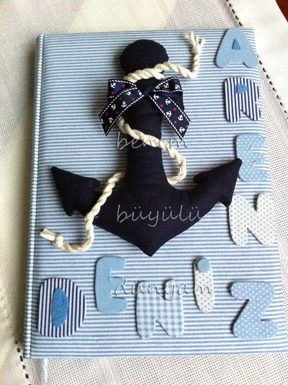 Denizci çapa anı defteri, bebek odası süsleri, doğum organizasyonları