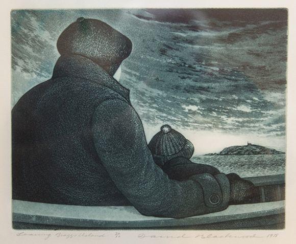 David Blackwood etching, Leaving Bragg's Island, 1978, 8 X 10 inches