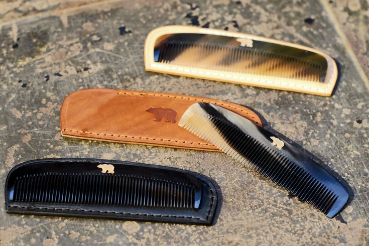 ONDURA durable goods real horn comb with leather case handcrafted in germany