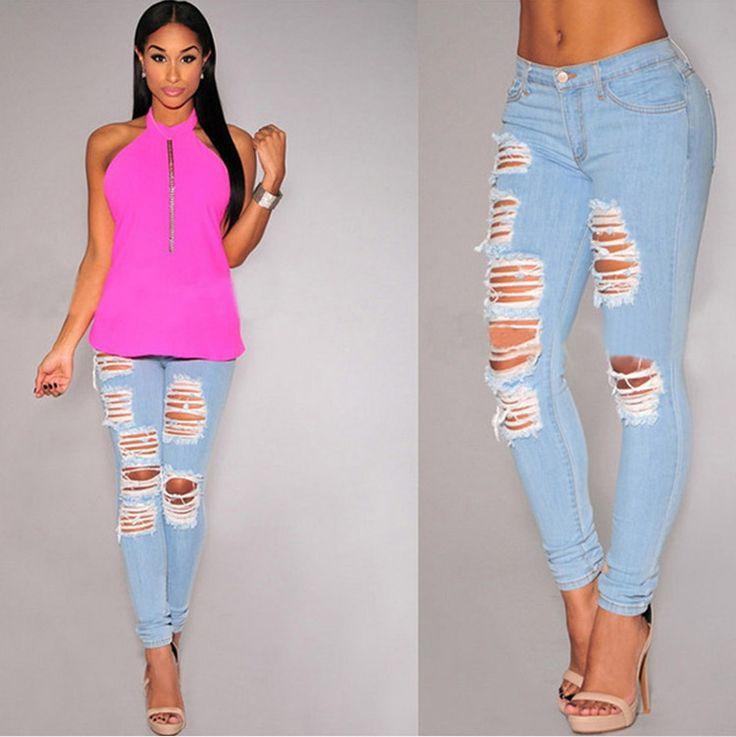 2016 новый летний мода старинные разорвал бойфренд женщин сексуальное отверстие джинсы Femininas полный дамы брюки Большой размер LY112