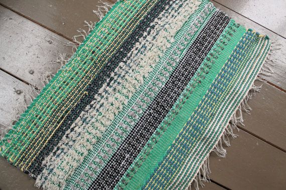 Experiment with textures. Woven on a traditional floor loom, with hand-cut rags…70e