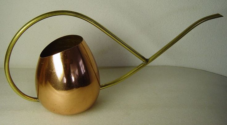 stylish midcentury copper and brass cactus bonsai watering can  | eBay