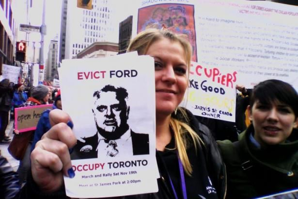 "Photography and news coverage of Occupy Toronto protest to ""Evict Ford""."