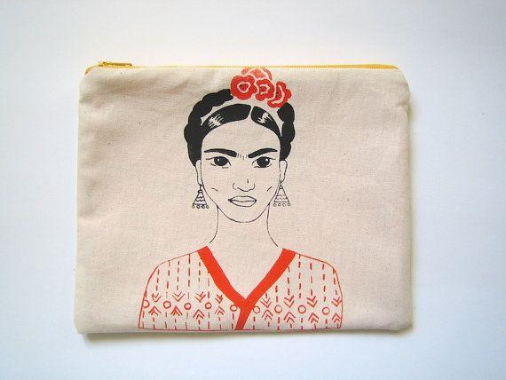 Frida Kalho zipper pouch screen printed Orange and black by LatelierdEloiseS, €20.00
