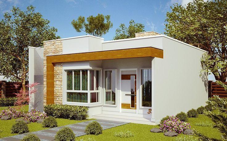 Modelos de fachadas de casas modernas de un piso blanca #modelosdecasasfachadas