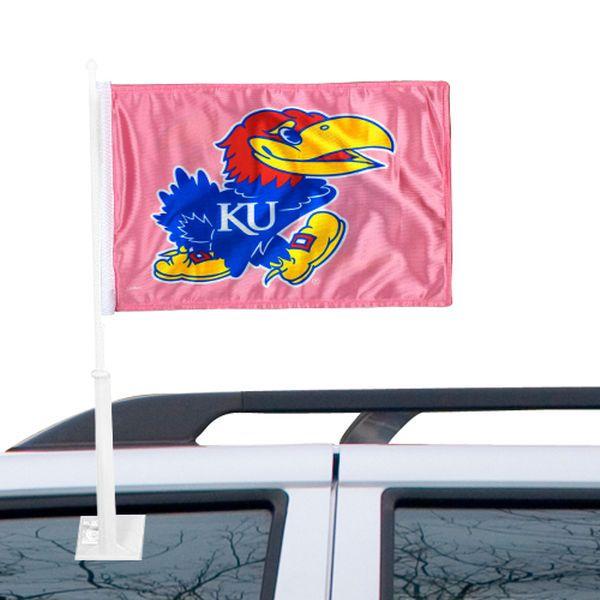 Kansas Jayhawks Fashion Car Flag – Pink - $12.99