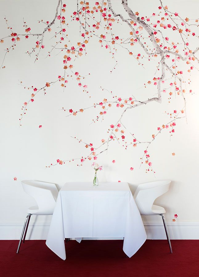 'Plum Blossom' design in Original design colours on Bleached White dyed silk.