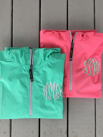 Monogrammed Half Zip Light Weight Pullover Rain Jacket: Gladeville Farmhouse