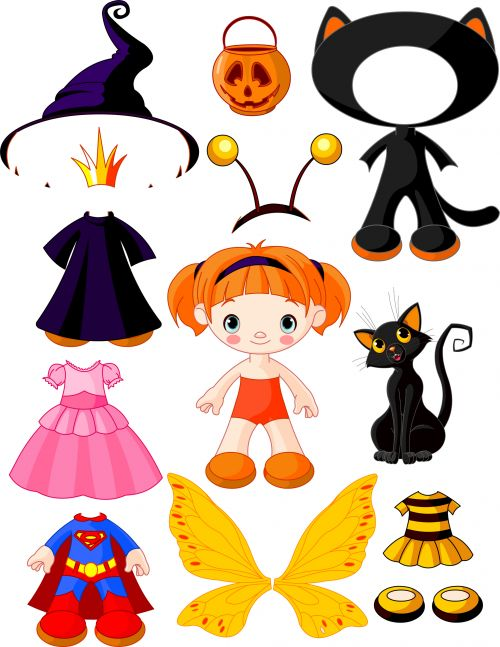 Cute paper doll, great for hours of fun and kids crafts. #kidscraft #halloween #paperdoll
