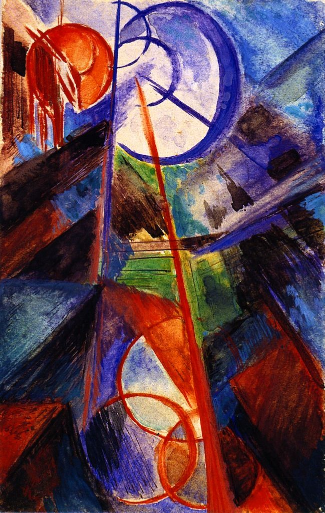 The Athenaeum - Abstract Mountain Landscape with Fabulous Beast (Franz Marc - )