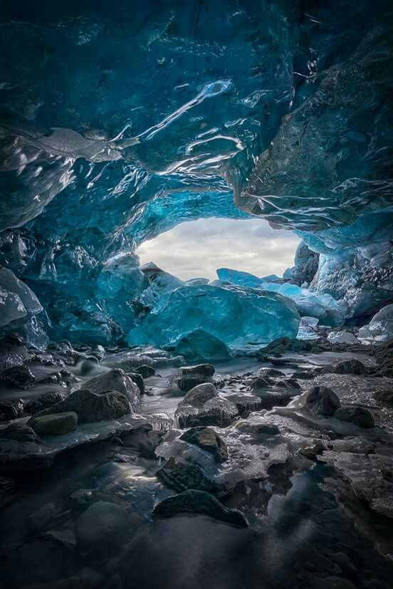The Inside of an ice cave, south Iceland.