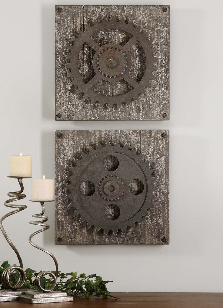 Rust Bronze Details Accented With Heavily Distressed Aged Ivory Over Rustic Wood. Dimensions (inches): 3.5D, 17W, 17H.