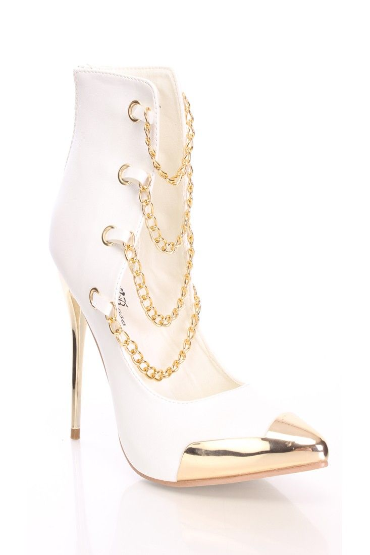 White Heels With Gold Chain