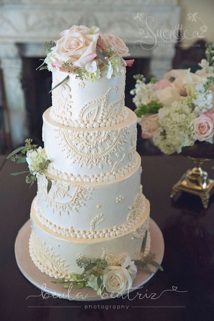 Created with all piped buttercream- Dulce and Chocolate espresso cake