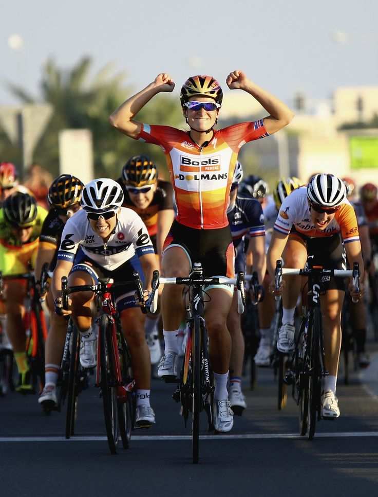 ElizabethArmitstead celebrates after winning stage3 of the 2015 LadiesTourofQatar