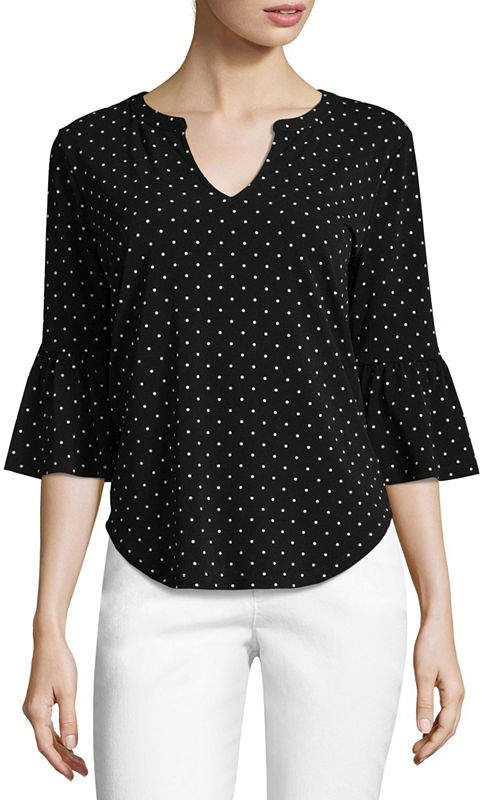 Liz Claiborne 3/4 Bell Sleeve Split Crew Neck Dotted T-Shirt-Womens