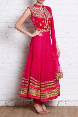 Closet Rani Pink'k | Magenta & Gold Yoke Anarkali | SCARLETBINDI.COM