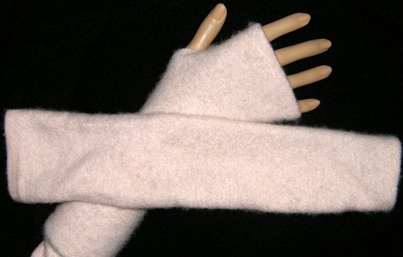 Long Pink Cashmere Arm Warmer Fingerless Gloves Upcycled